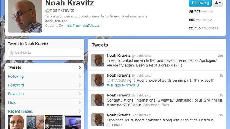 Capture d'écran du compte Twitter de Noah Kravitz, le 27 décembre 2011. (FTVi)