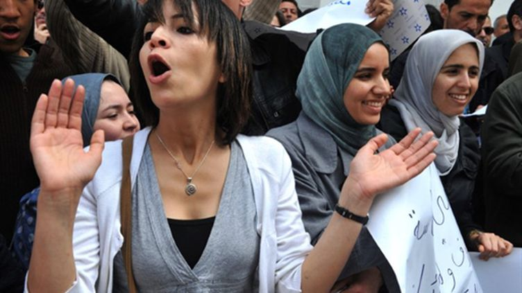 Manifestation de journalistes à Rabat devant le bâtiment d'une des télés publiques (AFP/ABDELHAK SENNA)