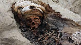 Un crâne d'un enfant sacrifié retrouvé sur un site de Pampa la Cruz (Colombie), le 27 août 2019. (LUIS PUELL / ANDINA / AFP)
