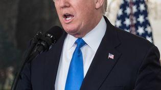 Donald Trump, à la Maison Blanche, le 14 juin 2017. (NICHOLAS KAMM / AFP)