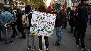 Manifestation contre le gouvernement à Paris, le 16 novembre 2017. (CHRISTOPHE ARCHAMBAULT / AFP)