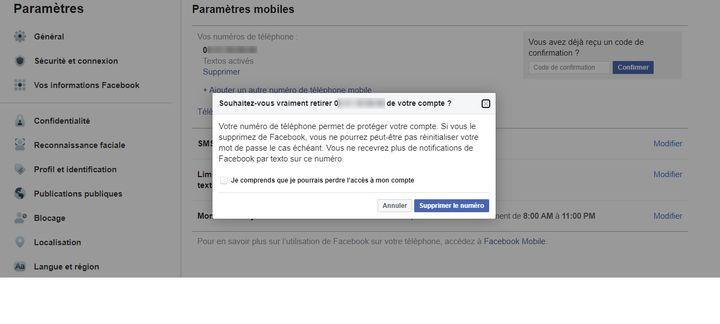 La fenêtre permettant de supprimer son numéro de téléphone de Facebook. (FACEBOOK)
