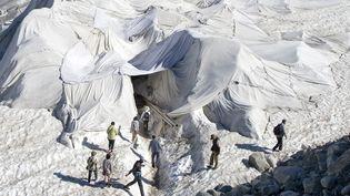 Des touristes visitent le glacier du Rhône (Suisse), protégé par des bâches blanches, le 19 juillet 2016. (MAXPPP)