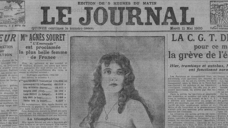 """Agnès Souret, 17 ans, élue """"plus belle femme de France"""", le 10 mai 1920. (DR)"""