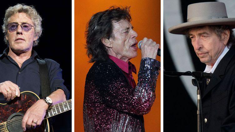 Roger Daltrey, Bob Dylan et Mick Jagger. Les Who, les Rolling Stones, Roger Waters, Bob Dylan, Paul McCartney et Neil Young pourraient être réunis dans un même festival.  (A gauche Arthur Mola / AP / SIPA - Au centre Alejandro Ernesto / EPA / MAXPPP - A droite, Ben Stansall / AFP)