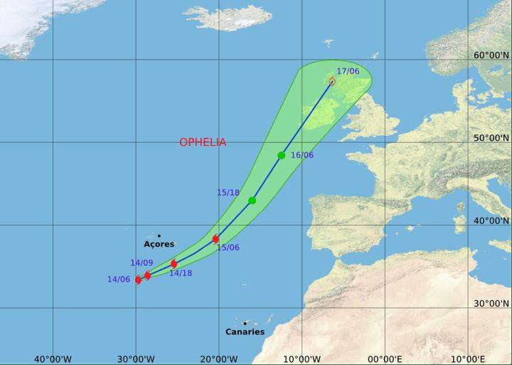 L'ouragan Ophelia devrait atteindre l'Irlande lundi, selon cette carte de prévision de Météo France. (METEO FRANCE)