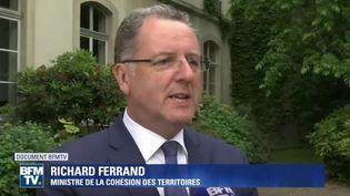 Le ministre de laCohésion des territoires, Richard Ferrand, le mercredi 24 mai 2017, sur BFMTV. (BFMTV)