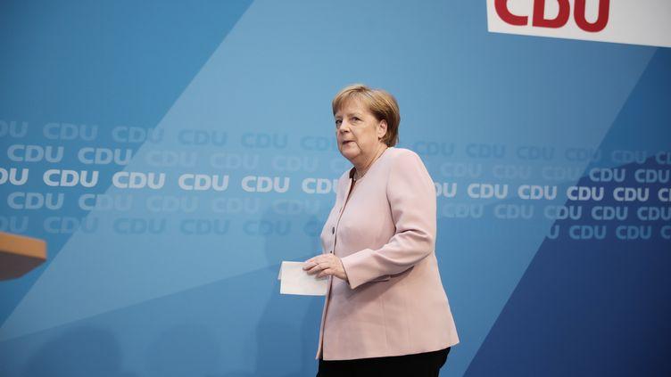Angela Merkel, dimanche 2 juin 2019 lorsd'une réunion de son parti à Berlin (Allemagne). (MICHAEL KAPPELER / DPA / AFP)