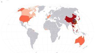 Carte des cas de coronavirus identifiés dans le monde, le 29 janvier 2020. (FLOURISH / FRANCEINFO)