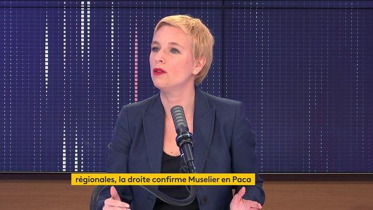 Clémentine Autain, députée La France insoumise de Seine-Saint-Denis, était l'invitée de franceinfo jeudi 6 mai 2021. (FRANCEINFO / RADIO FRANCE)