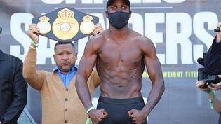 Souleymane Cissokho, au AT&T Stadium de Dallas, au Texas, le 7 mai 2021, la veille de son combat. (ED MULHOLLAND / MATCHROOM BOXING /AFP)