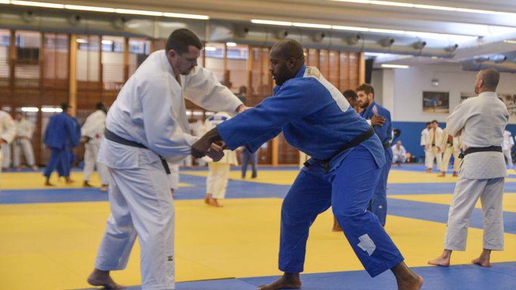 Frédéric Lecanu et Teddy Riner pendant une séance d'entraînement de l'équipe de France de judo à l'INSEP le 21 janvier 2017 à Vincennes. (ANTHONY DIBON / ICON SPORT / GETTY IMAGES)