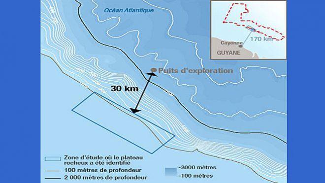 Carte de localisation du puits d'exploration pétrolifère au large de la Guyane, qui doit être exploitépar Total àpartir de fin 2018, début 2019. (TOTAL)