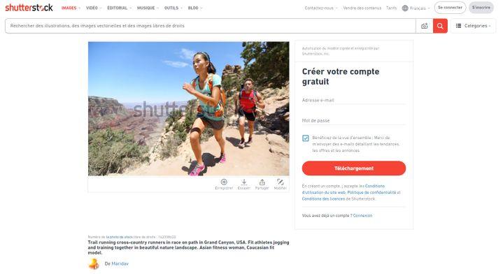 Capture d'écran d'une page de la banque d'images Shutterstock. (SHUTTERSTOCK)