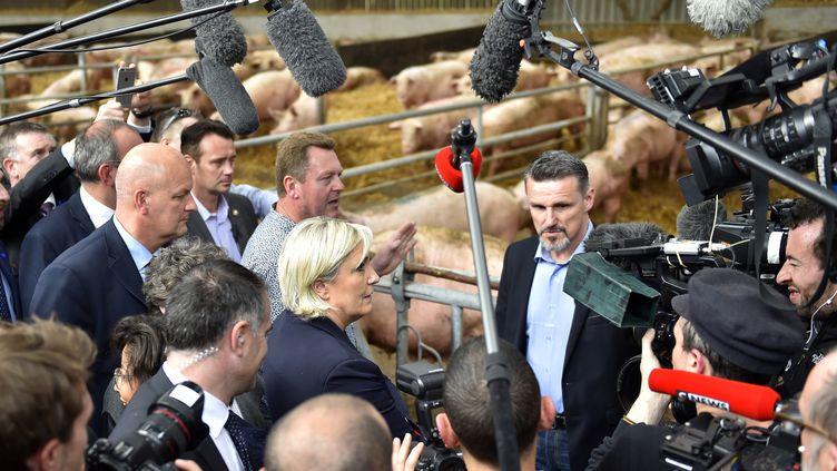 En déplacement de deux jours en Bretagne, Marine Le Pen a notammentété interrogée sur des déclarations de Manuel Valls dans l'Obs. (LOIC VENANCE / AFP)