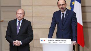 Le Premier ministre, Edouard Philippe et le ministre de l'Intérieur, Gérard Collomb à l'Elysée, le 17 janvier 2018. (CHARLES PLATIAU / AFP)