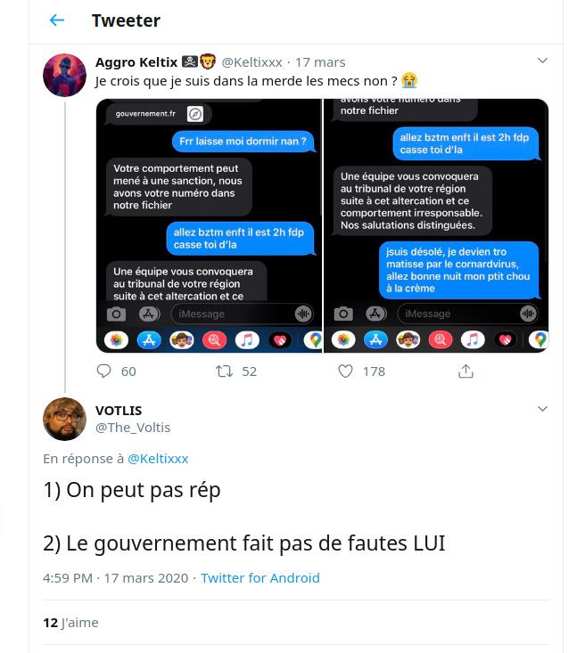 Capture d'écran de tweets à propos du SMS d'alerte du gouvernement sur le Covid-19. (FRANCEINFO)
