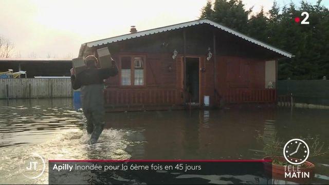 Crues: dans l'Oise, le village d'Apilly inondé pour la sixième fois en 45 jours