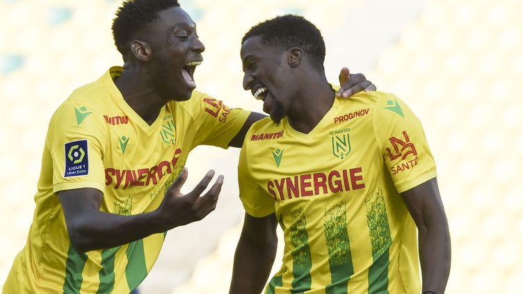 Les Nantais peuvent célébrer, grâce à un succès mérité face à Brest (3-1), ils se relancent dans ce championnat de Ligue 1.  (SEBASTIEN SALOM-GOMIS / AFP)