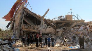 Les ruines de l'hôpital soutenu par MSF après avoir été bombardé, à Al-Numan (Syrie), le 15 février 2016.  (GHAITH OMRAN / AL-MAARRA TODAY / AP)