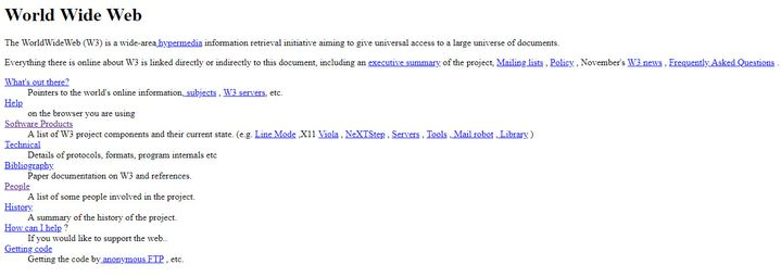 Capture d'écran de la reproduction du premier site web mis en ligne en décembre 1990 par Tim Berners-Lee. (CERN)