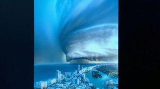 Le photomontage censé représentant l'ouragan Dorian approchant des côtes de Floride (États-Unis). (FRANCE 2)
