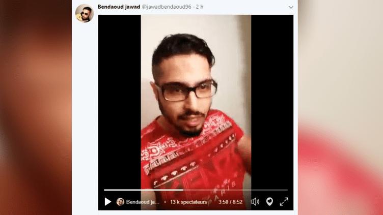 Capture d'écran d'une vidéo postée par Jawad Bendaoud sur son compte Twitter, le 2 mars 2018. (TWITTER)