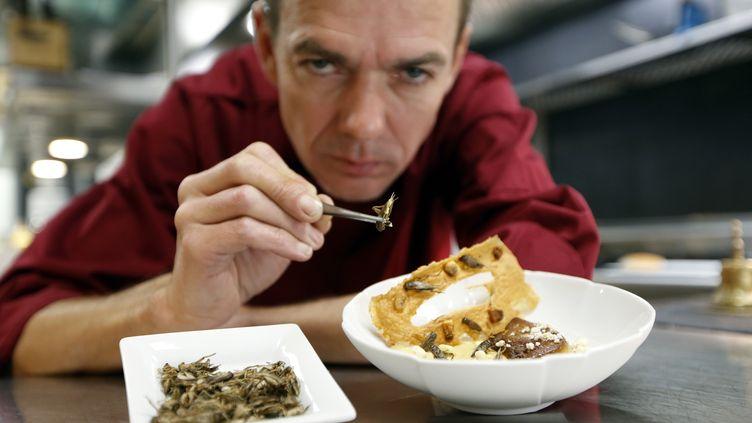"""Le chef étoilé David Faure pose au-dessus d'un """"crémeux de maïs, foie gras poêlé"""", accompagné de ses grillons, le 23 avril 2013 à Nice (Alpes-Maritimes). (VALERY HACHE / AFP)"""