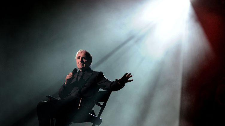 Charles Aznavour lors d'un concert à la Halle Tony Garnier, à Lyon, le 1er décembre 2011. (MAXPPP)