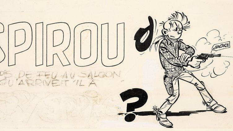 Coups de feu au saloon ! Encre de Chine, crayon de papier, crayon bleu et gouache correctrice pour le bandeau d'annonce d'une nouvelle aventure de Jerry Spring La Piste du grand nord publiée le 21 juin 1956 dans le journal Spirou n°949.  (ARTCURIAL)
