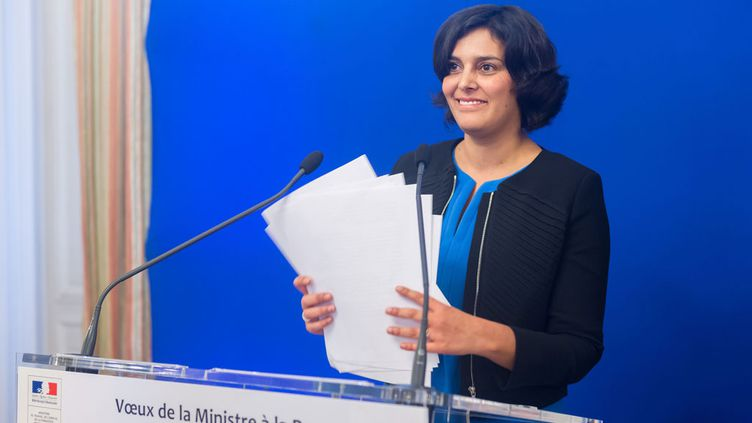 (Myriam El Khomri lors de ses vœux à la presse. ©Witt/SIPA)