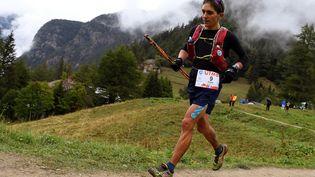 Le FrançaisXavier Thévenard lors de l'Ultra-trail du Mont-Blanc, le 1er septembre 2018. (JEAN-PIERRE CLATOT / AFP)