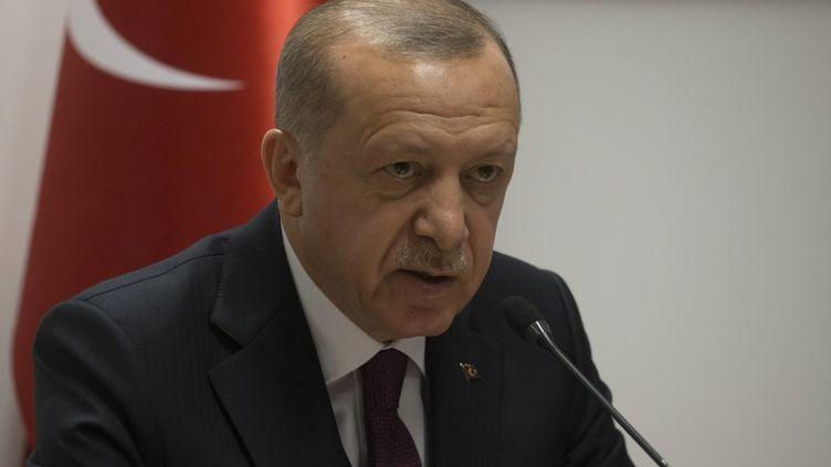 Le président turc, Recep Tayyip Erdogan, le 9 mars 2020 à Bruxelles. (ERCIN TOP / AFP)
