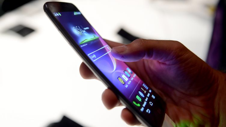 Un journaliste essaie un smartphone au CES de Las Vegas (Etats-Unis), le 6 janvier 2014. (BRITTA PEDERSEN / DPA / AFP)