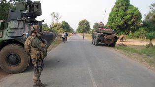 Des militaires français de l'opération Sangaris, le 1er février 2014, en Centrafrique. (JEAN-PIERRE CAMPAGNE / AFP)