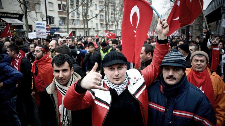 Une manifestation pro-turque, le 21 janvier 2012 à Paris. (NICOLAS MESSYASZ /CITIZENSIDE.COM)