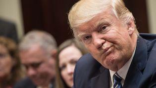 Le président américain Donald Trump lors d'une réunion du gouvernement à la Maison Blanche, à Washington (Etats-Unis), le 13 mars 2017. (NICHOLAS KAMM / AFP)