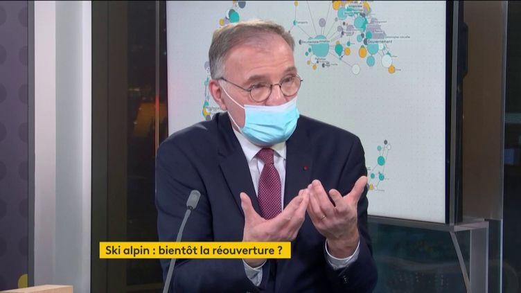 Dominique Marcel, PDG de la Compagnie des Alpes, invité éco de franceinfo, lundi 18 janvier 2021. (FRANCEINFO)