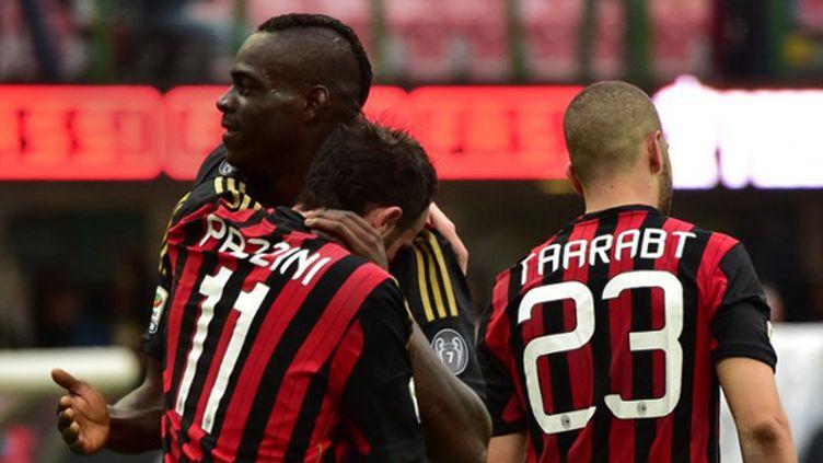 Mario Balotelli a inscrit son 14e but de la saison avec le Milan AC. (GIUSEPPE CACACE / AFP)