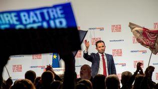 Benoît Hamon, vendredi 27 janvier 2017 lors d'un meeting à Lille (Nord). (PHILIPPE HUGUEN / AFP)