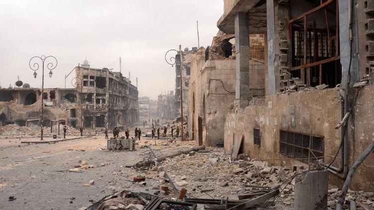 Un quartier d'Alep (Syrie) dévasté par les bombardements, le 12 janvier 2013. ( AFP )
