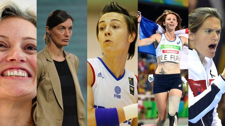 Nathalie Boy de la Tour, Corinne Diacre, Céline Dumerc, Marie-Amélie Le Fur et Amélie Mauresmo