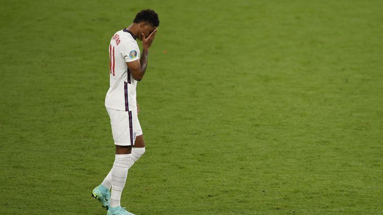 L'attaquant Marcus Rashford lors de la finale de l'Euro, perdue par l'Angleterre face à l'Italie, dimanche 11 juillet. (JOHN SIBLEY / AFP)