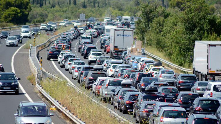 L'autoroute A9 au Niveau de Narbonne (Aude), le 29 juillet 2017. (MAXPPP)