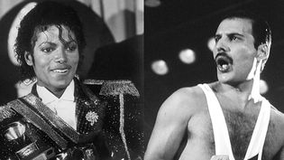 Michael Jackson (en 1984) et Freddie Mercury (en 1982).  (UPI/AFP  et Ilpo Musto/REX/Sipa)
