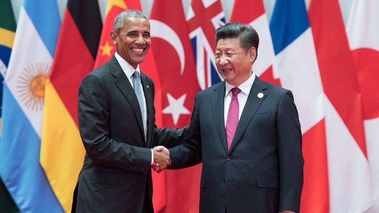 Obama et Xi Jingpin à Shangaï, lors du G20 (septembre 2016), annoncent la ratification de l'accord de la COP21. (AFP)