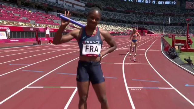 Le relais féminin (4x100) français termine à la 4e place de sa série et rentre en finale au temps.Les Françaises réalisent leur meilleur chrono de la saison en 42'68''.