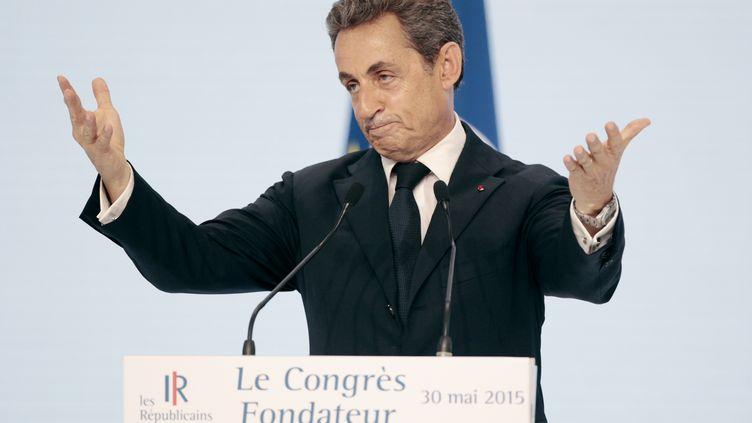 Nicolas Sarkozy lors du congrès des Républicains, le 30 mai 2015, à Paris. (CHARLY TRIBALLEAU / AFP)
