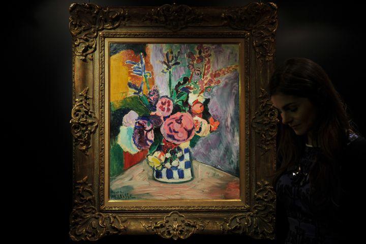 """""""Les pivoines"""", d'Henri Matisse, ont été présentées à Hong Kong le 2 avril 2012. (AARON TAM / AFP)"""
