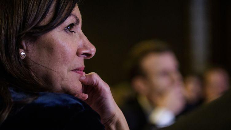 La maire de Paris Anne Hidalgo, le 30 janvier 2018 lors du dîner annuel du Conseil de coordination des organisations arméniennes de France. (CHRISTOPHE PETIT TESSON / AFP)